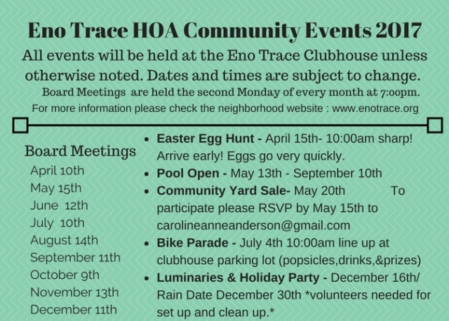 Eno Trace HOA Community Events 2017 (1)
